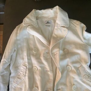 Lacoste cream light coat, pea coat size 8